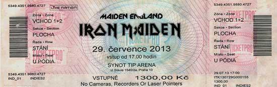 Maiden England Tour 2013