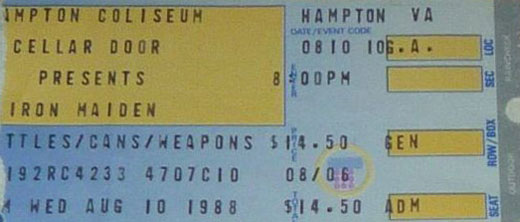 Iron Maiden ticket 1988