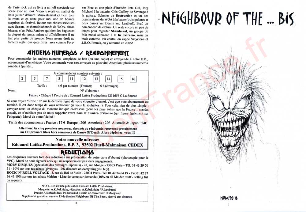 Neighbour Of The Beast N°16 - Novembre 2004