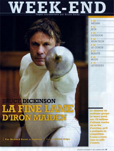 Bruce Dickinson - Equipe Magazine N°1381, 3 janvier 2009