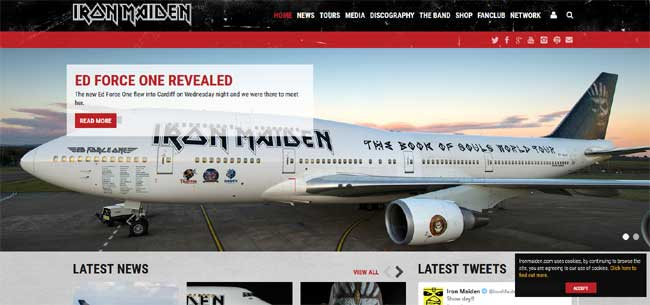 Iron Maiden Official website 2016