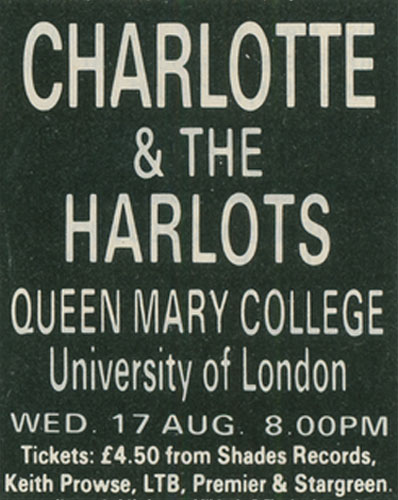 Charlotte and the Harlots Tour 1988 - London